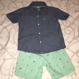 Carter's Matching Sets - Carter's denim and anchor/whale set